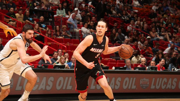 Kelly Olynyk #9 of the Miami Heat handles the ball against the Brooklyn Nets on March 2, 2019 at American Airlines Arena in Miami, Florida.