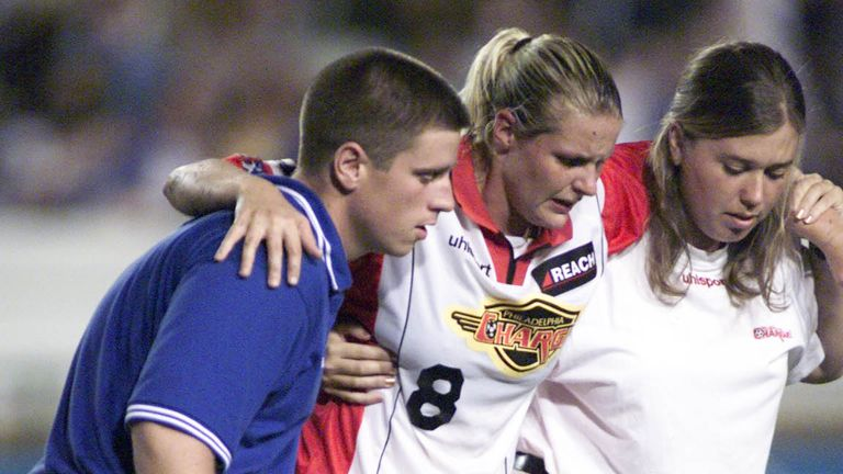 Kelly Smith was badly injured while playing for Philadelphia Charge in the USA