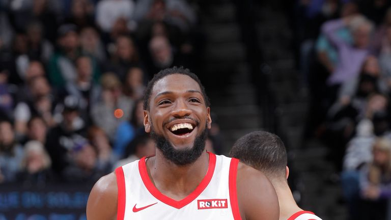 9a38cdacc Kenneth Faried  35 of the Houston Rockets faces off against the Sacramento  Kings on February