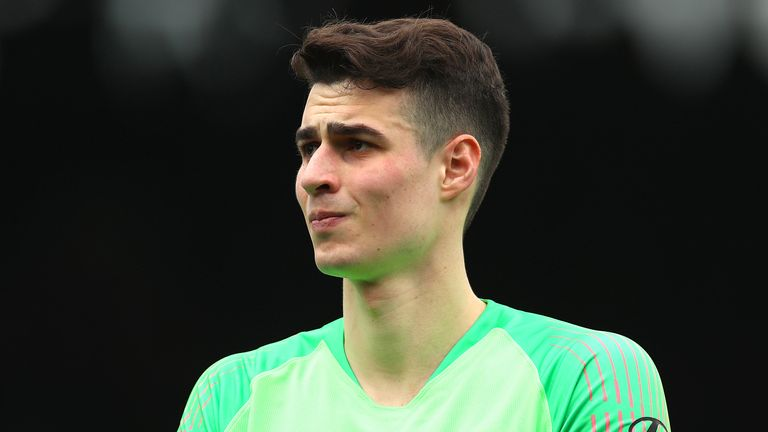 Kepa Arrizabalaga of Chelsea makes his way out onto the pitch during the Premier League match between Fulham FC and Chelsea FC at Craven Cottage on March 03, 2019 in London, United Kingdom.