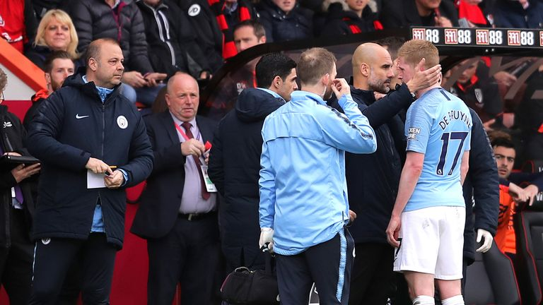 Kevin De Bruyne came off injured in City's win 1-0 at Bournemouth on March 2