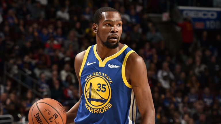 Kevin Durant #35 of the Golden State Warriors handles the ball against the Philadelphia 76ers on March 2, 2019 at the Wells Fargo Center in Philadelphia, Pennsylvania.
