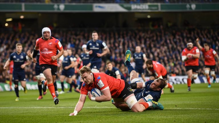 Kieran Treadwell of Ulster goes over to score his side's first try