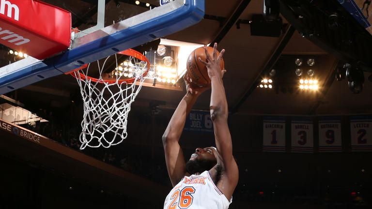 NEW YORK, NY - MARCH 22: Mitchell Robinson #26 of the New York Knicks dunks the ball against the Denver Nuggets on March 22, 2019 at Madison Square Garden in New York City, New York.  NOTE TO USER: User expressly acknowledges and agrees that, by downloading and or using this photograph, User is consenting to the terms and conditions of the Getty Images License Agreement. Mandatory Copyright Notice: Copyright 2019 NBAE  (Photo by Nathaniel S. Butler/NBAE via Getty Images)