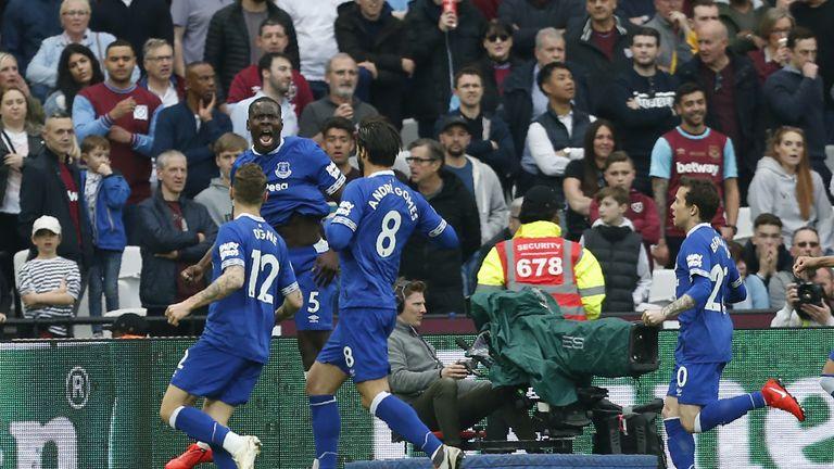Kurt Zouma celebrates scoring the opening goal of the game at the London Stadium