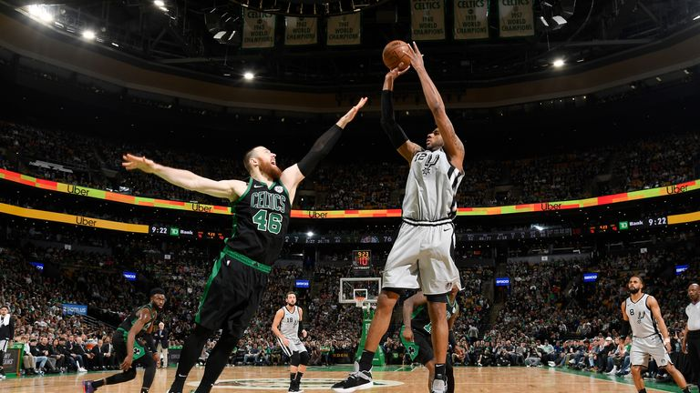 LaMarcus Aldridge # 12 of the San Antonio Spurs shoots on March 24 against the Boston Celtics. 2019 at the TD Garden in Boston, Massachusetts.
