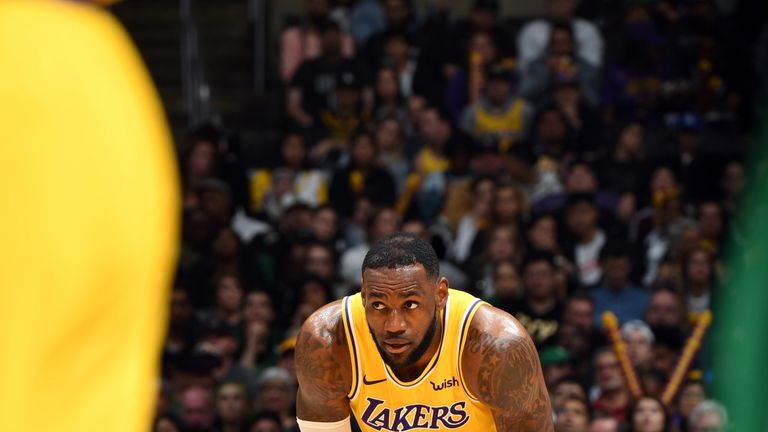 LeBron James #23 of the Los Angeles Lakers looks on during a game against the Boston Celtics on March 9, 2019 at STAPLES Center in Los Angeles, California.