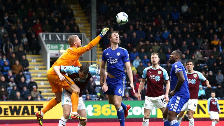 Burnley peppered the Leicester box but Kasper Schmeichel held firm