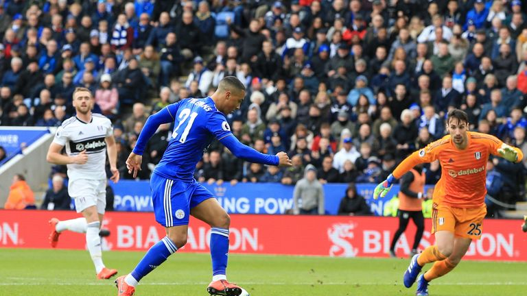 Youri Tielemans prepares to tuck in the opener for Leicester on Saturday
