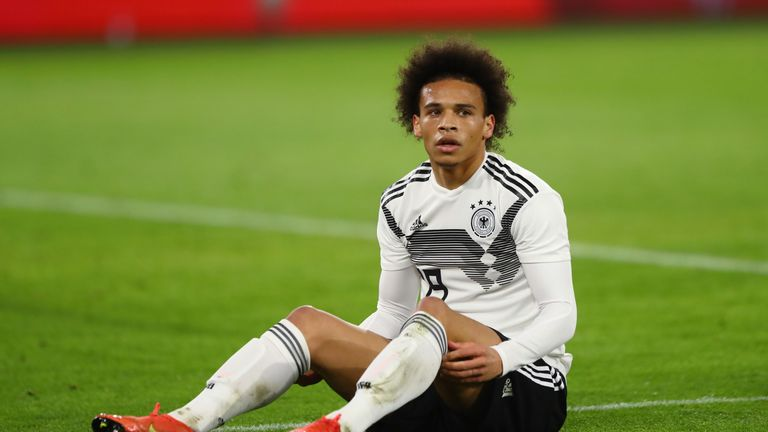 Leroy Sane during Germany's friendly against Serbia