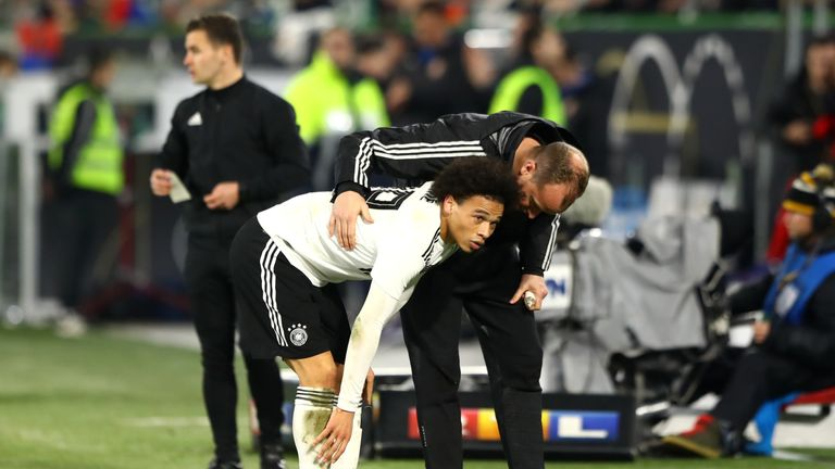 Leroy Sane of Germany reacts after an injury