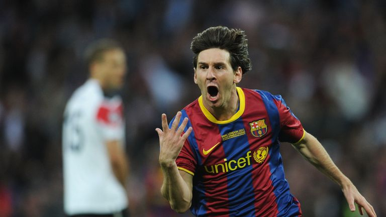 Lionel Messi celebrates scoring against Man United in the 2011 Champions League final at Wembley Stadium