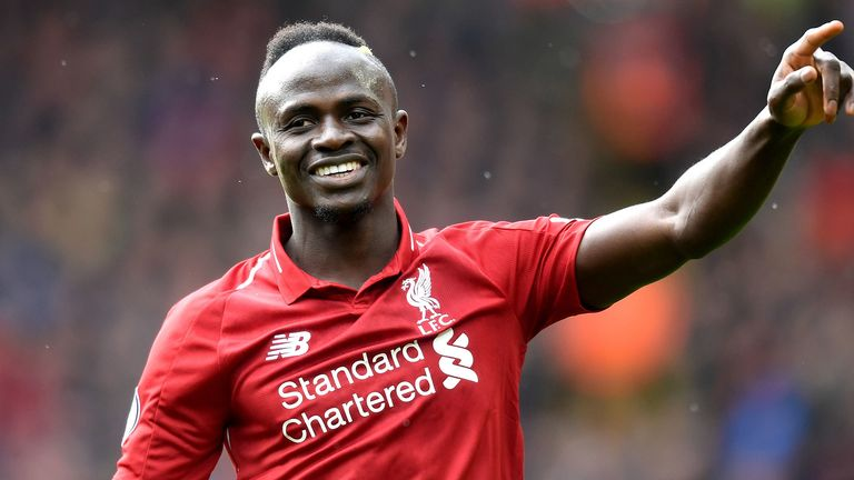 Sadio Mane celebrates his goal during Liverpool's match with Burnley.
