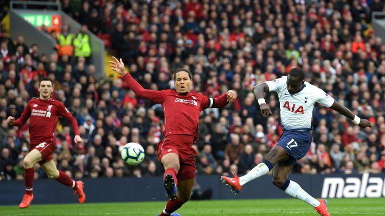 Liverpool defender Virgil van Dijk appeared to injury himself challenging Tottenham's Moussa Sissoko.
