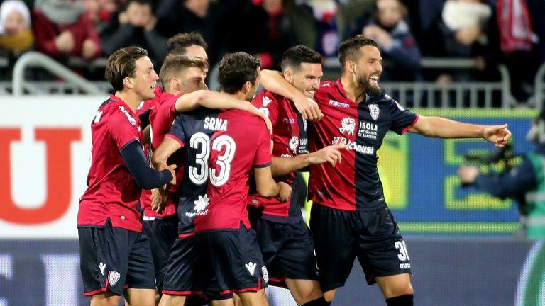 Luca Ceppitelli celebrates putting Cagliari in front against Inter Milan