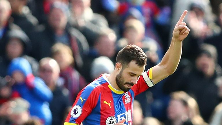 Luka Milivojevic celebrates after bringing Crystal Palace level from the penalty spot
