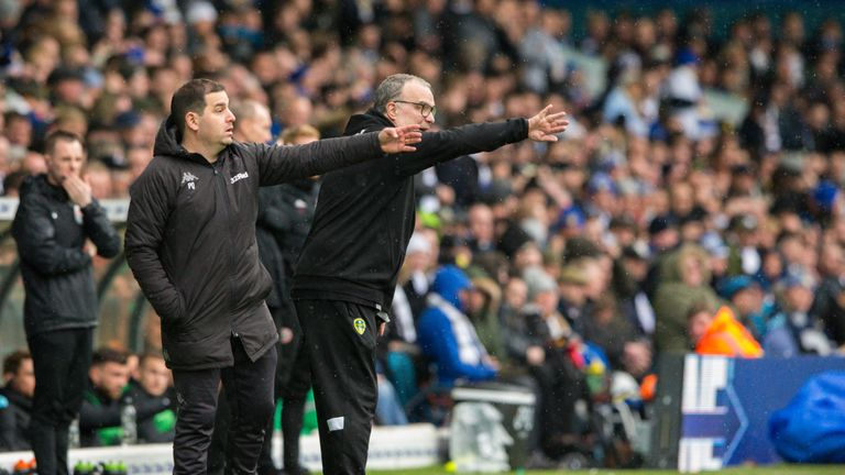 Leeds manager Marcelo Bielsa issues instructions from the sidelines