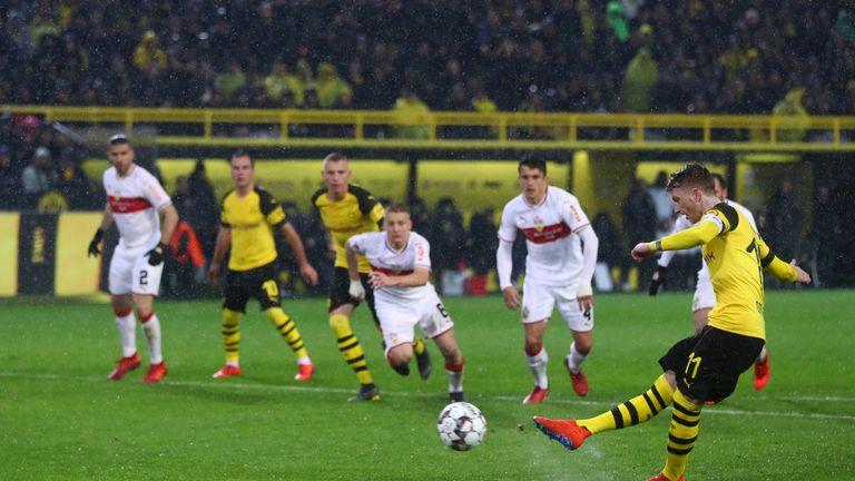 Marco Reus scored from the spot during Borussia Dortmund's win over Stuttgart