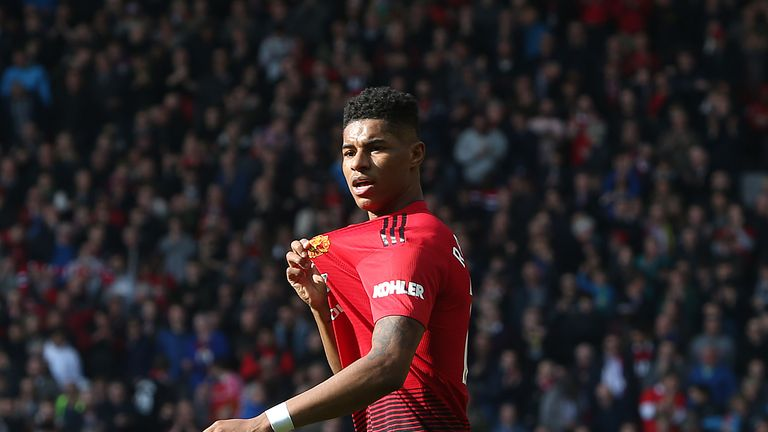Marcus Rashford celebrates after giving Manchester United a 1-0 lead