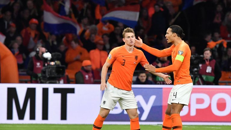 Netherlands' defender Matthijs De Ligt (L) celebrates with Netherlands' defender Virgil Van Dijk after scoring their first goal during the UEFA Euro 2020 Group C qualification football match between The Netherlands and Germany at the Johan Cruyff Arena in Amsterdam on March 24, 2019