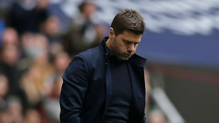 Mauricio Pochettino on the touchline at Wembley during the north London derby