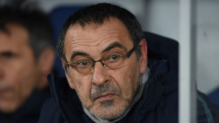 Maurizio Sarri, Manager of Chelsea looks on prior to the UEFA Europa League Round of 16 Second Leg match between Dynamo Kyiv and Chelsea at NSC Olimpiyskiy Stadium on March 14, 2019 in Kiev, Ukraine.