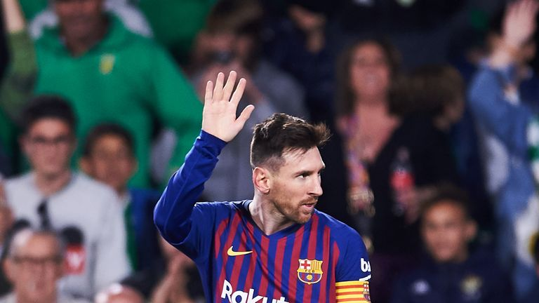 Lionel Messi acknowledges the crowd after completing his 51st career hat-trick against Real Betis