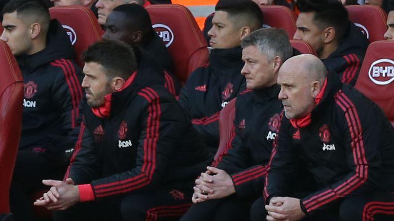 Michael Carrick, Ole Gunnar Solskjaer and Mike Phelan look on during Arsenal vs Man Utd