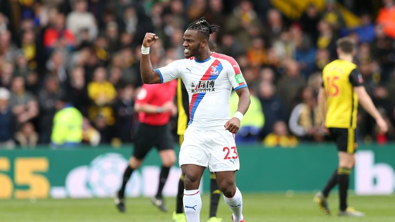 Michy Batshuayi celebrates his equaliser for Crystal Palace against Watford in the FA Cup
