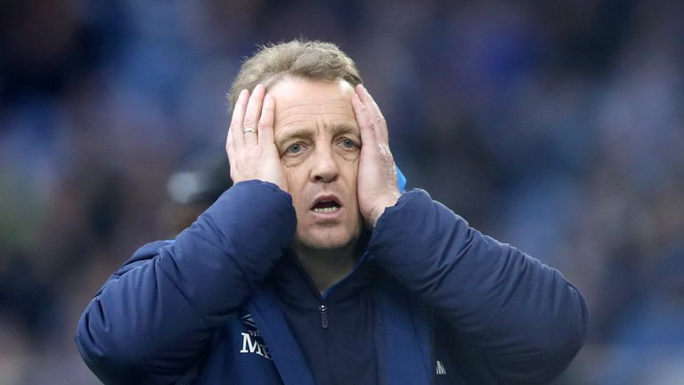 Schalke assistant coach Mike Buskens reacts after his side's 1-0 defeat to RB Leipzig