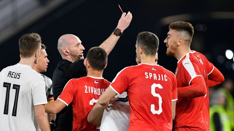 Milan Pavkov was shown a straight red for a dangerous tackle on Leroy Sane
