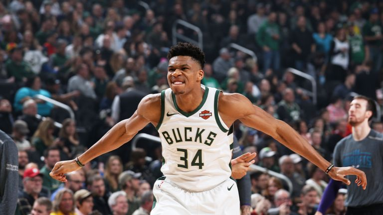 Giannis Antetokounmpo #34 of the Milwaukee Bucks begins his pre game routine against the Charlotte Hornets on March 9, 2019 at the Fiserv Forum Center in Milwaukee, Wisconsin.