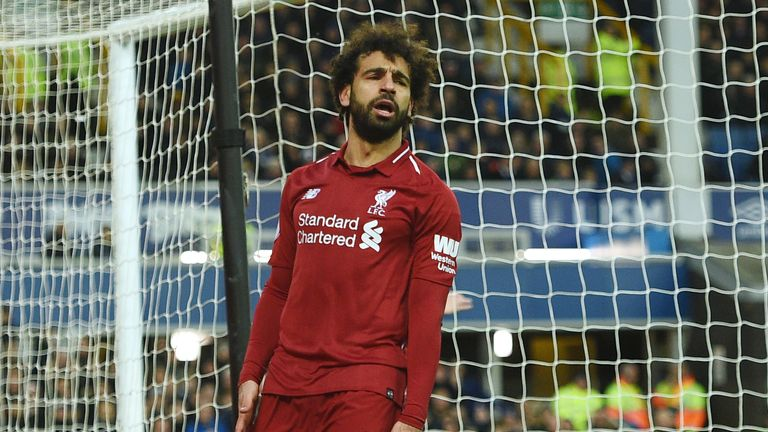 Mohamed Salah cut a frustrated figure against Everton
