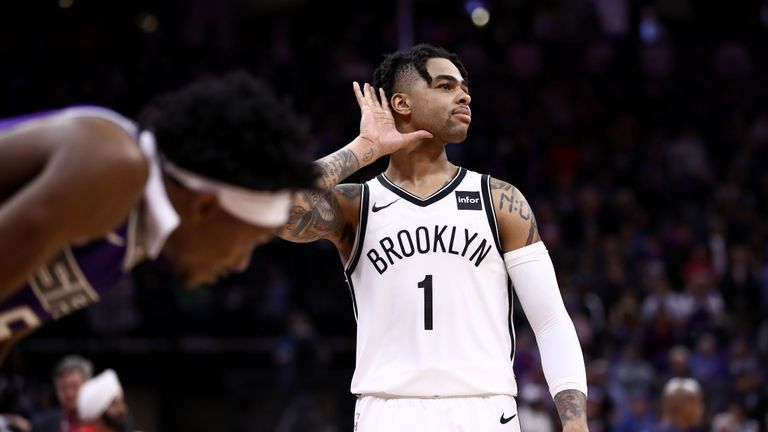 D'Angelo Russell  of Brooklyn Nets against Sacramento Kings