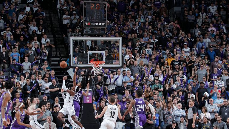 Rondae Hollis-Jefferson of Brooklyn Nets scores against Sacramento Kings