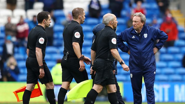 Neil Warnock silently expressed his frustration at referee Craig Pawson