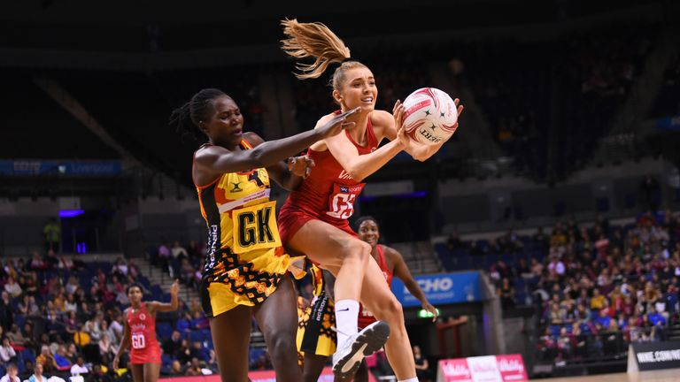 Helen Housby of England in action during the Vitality Netball International Series match between England and Uganda at the Echo Arena on November 27, 2018 in Liverpool, United Kingdom. (Photo by Nathan Stirk/Getty Images for England Netball)