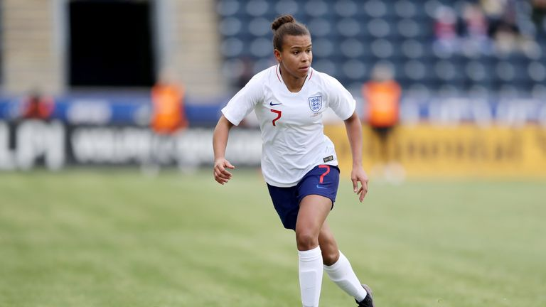 Nikita Parris #7 of England takes the ball in the first half against Brazil at Talen Energy Stadium on February 27, 2019 in Chester, Pennsylvania