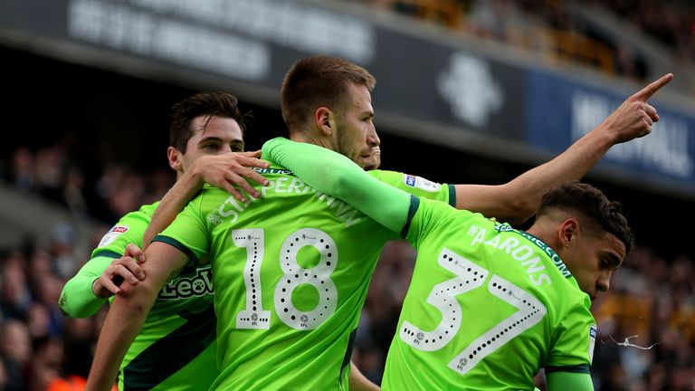 Marco Stiepermann celebrates scoring Norwich's opener