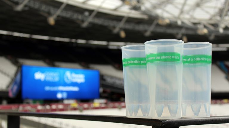 Reusable cups will be available for supporters at the London Stadium for this Saturday's game against Huddersfield Town