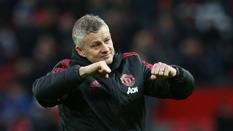 Ole Gunnar Solskjær walks off the pitch after the Premier League match between Manchester United and Southampton FC at Old Trafford on March 02, 2019 in Manchester, United Kingdom.