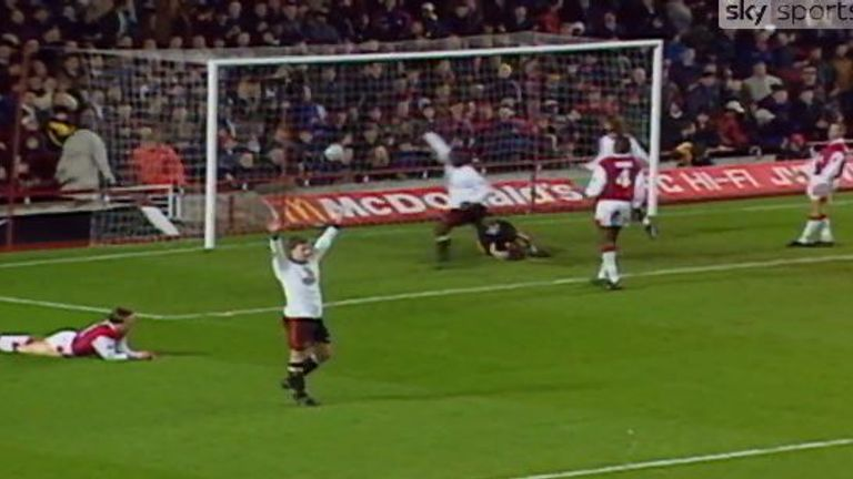 Solskjaer scored against Arsenal for Manchester United at Highbury in a 2-1 away win