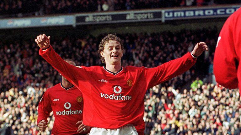 Solskjaer celebrates his goal in United's 6-1 win in 2001