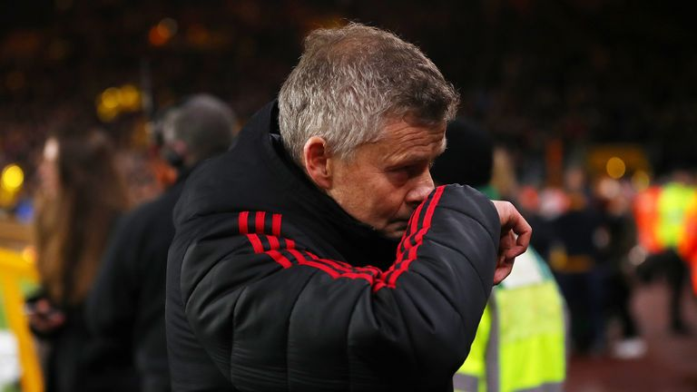 Ole Gunnar Solskjaer, Interim Manager of Manchester United reacts following defeat in the FA Cup Quarter Final match between Wolverhampton Wanderers and Manchester United at Molineux on March 16, 2019 in Wolverhampton, England.