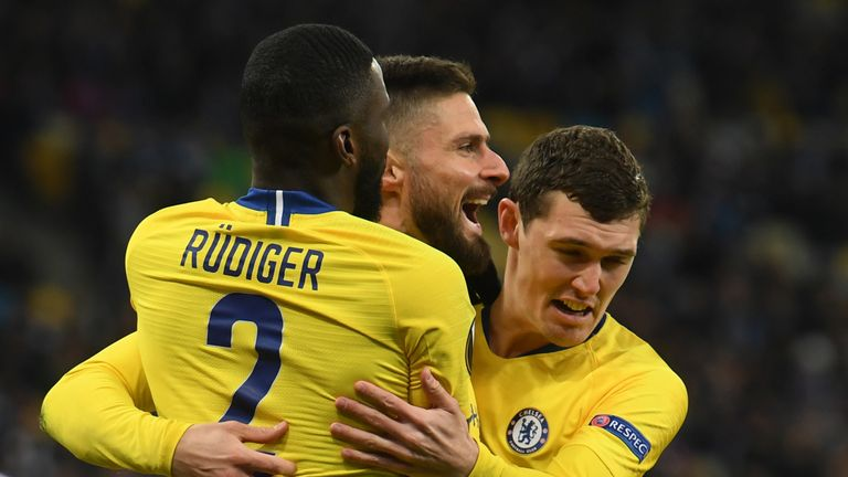 Olivier Giroud scored his second hat-trick in European competition