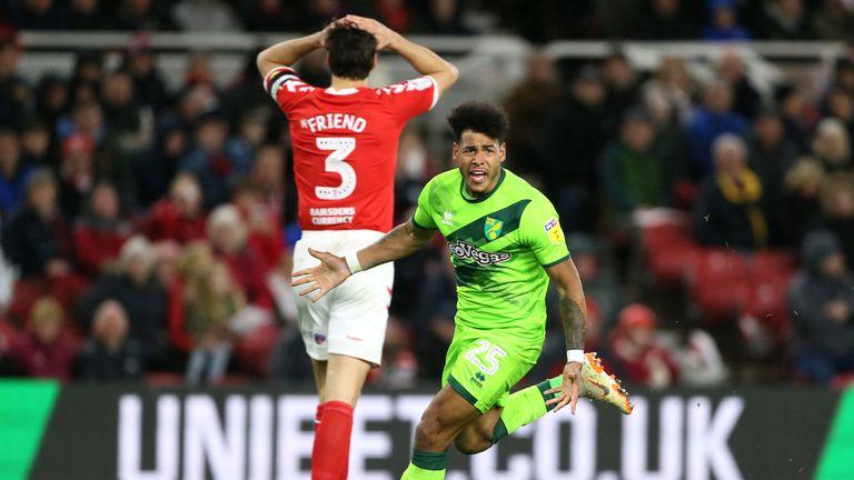 Norwich City's Onel Hernandez celebrates his goal