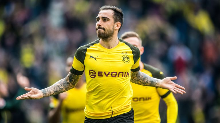 Paco Alcacer scored twice in injury time as Dortmund beat Wolfsburg 2-0