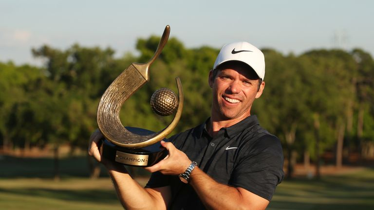 Paul Casey proudly displays the trophy after winning the Valspar Championship once again
