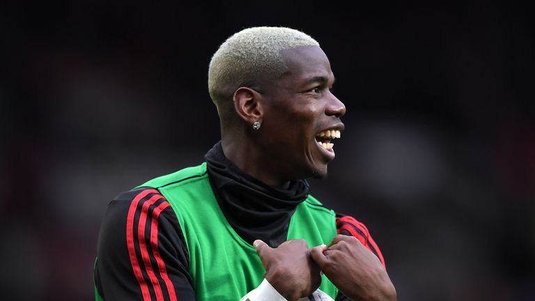 Paul Pogba of Manchester United warms up prior to the Premier League match between Manchester United and Southampton FC at Old Trafford on March 02, 2019 in Manchester, United Kingdom.