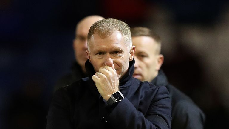 Oldham manager Paul Scholes during the Sky Bet League Two match against Yeovil Town in February 2019